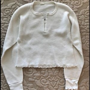 Vintage Waffle Print Crop Sweater